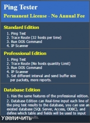 Пинг IP и URL - Ping Tester 9.49 Standard / Professional + Database Edition v.9.25